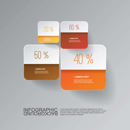 grades: Infographic Design - Round Squares with Percentage Levels