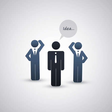 gray suit: The Real Leader - Business Men Icons  Illustration