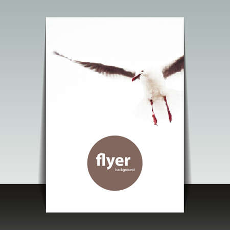 folder design: Flyer or Cover Design with Dotted Pattern - Halftone Theme  Seagull Illustration