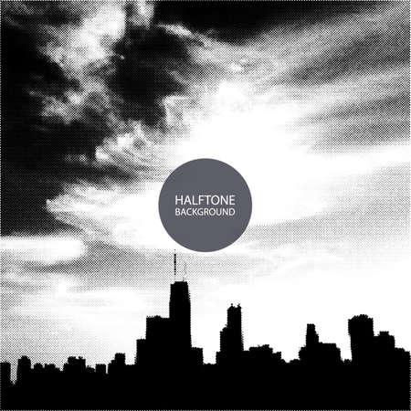 chicago skyline: Halftone Background Design - Chicago Skyline  Illustration