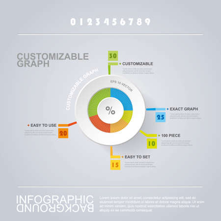 Customizable Circle Infographic Design with Pie Chart  Vector
