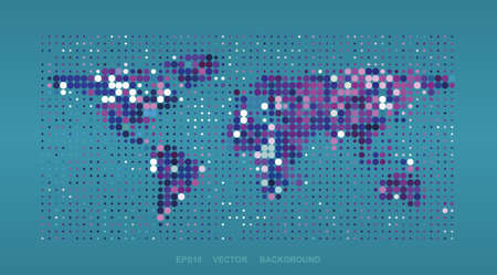 Dotted Map Design - Colorful World Map Vector