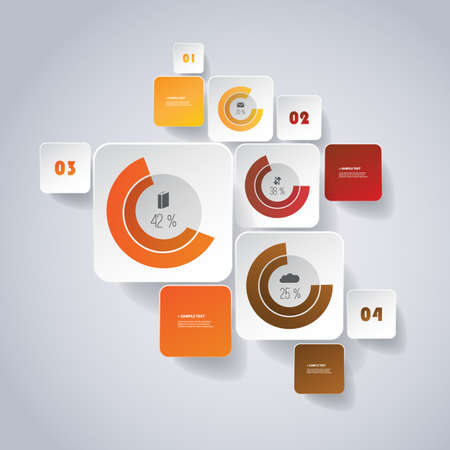 Infographic Design - Round Square Design with Diagrams Vector