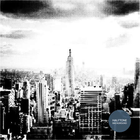 cloudy weather: Halftone Background Design - New York Skyline