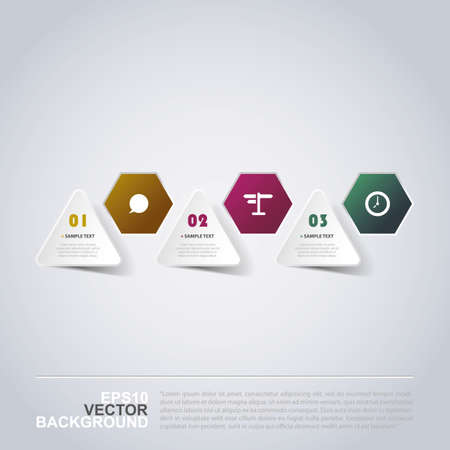 folded paper: Minimal Paper Cut Infographics Design - Triangles and Hexagons Illustration