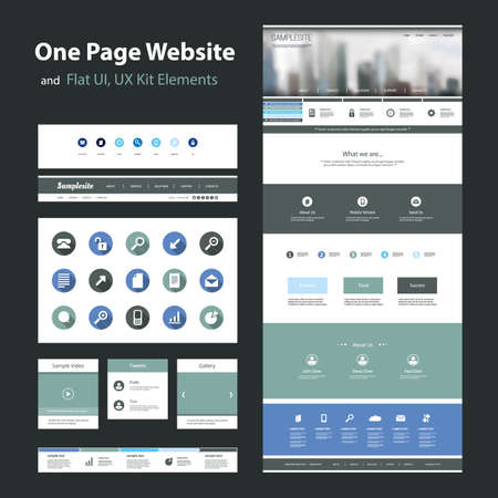 One Page Website Design Template and Flat UI, UX Elements Vector
