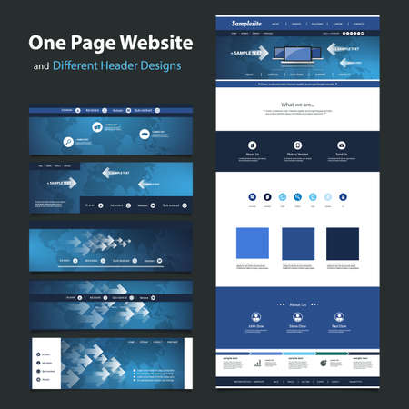 One Page Website Design Template and Different Headers  Vector