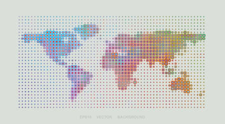 Dotted Map Design - Colorful World Map