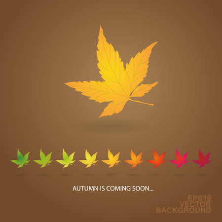 Autumn is Coming    - Background with Leaves  Vector