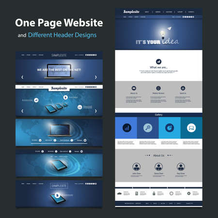 One Page Website Template and Different Header Designs