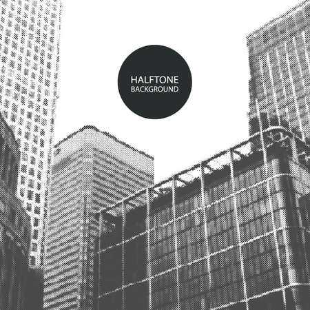 abstract london: Halftone Background Design - Canary Wharf, London Illustration