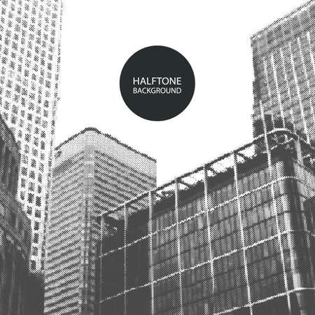 Halftone Background Design - Canary Wharf, London Illustration