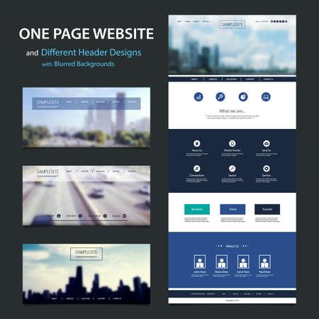 One Page Website Template, dessins et modèles d'en-tête différent avec Fond floues Vecteurs