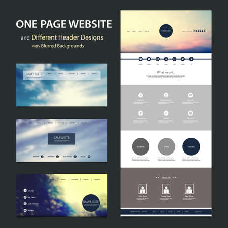 web navigation: One Page Website Template and Different Header Designs with Blurred Backgrounds