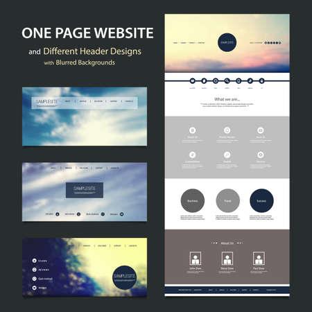 web header: Una P�gina plantilla de p�gina web y diversos dise�os de cabecera con fondos borrosos