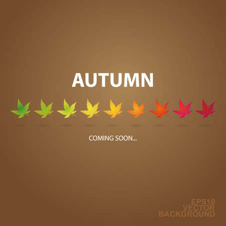 Autumn is Coming - Background with Row of Leaves Vector