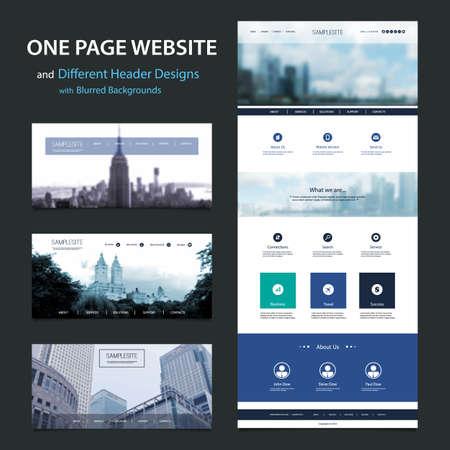 Una Página plantilla de página web y diversos diseños de cabecera con fondos borrosos