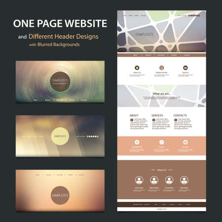 web banners: One Page Website Template and Different Header Designs with Blurred Backgrounds
