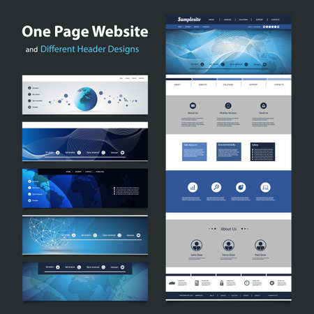One Page Website Template and Different Header Designs Vector