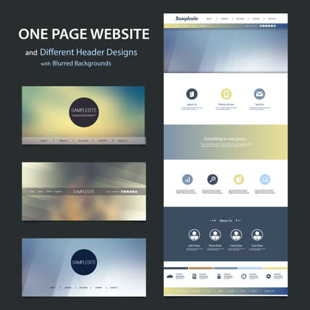 One Page Website Template and Different Header Designs with Blurred Backgrounds Vector