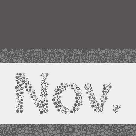 calendario noviembre: Calendario abstracto punteado Plantilla Elementos de diseño - Meses, noviembre Vectores