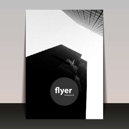 black circle: Skyscrapers in New York - Halftone Background, Flyer or Cover Design