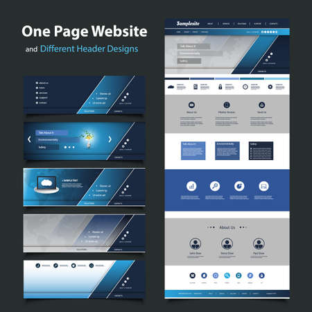 Website Template for Your Business with Six Different Header Design  Vector