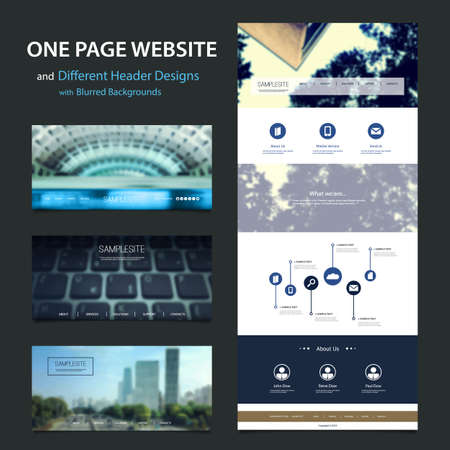 website backgrounds: One Page Website Template and Different Header Designs with Blurred Backgrounds