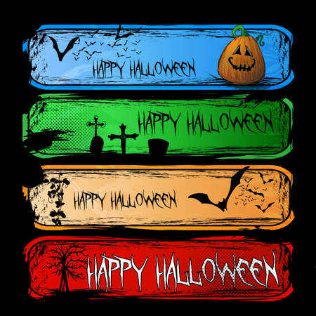 Set of Colorful Halloween Cartoon Banners Vector