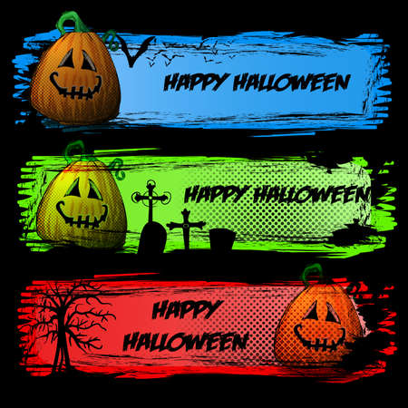 Set of Dark Colorful Halloween Headers or Banners with Smiling Pumpkin Vector