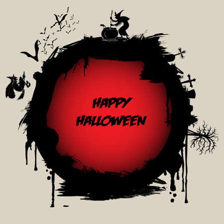 Halloween Label or Background Template Vector