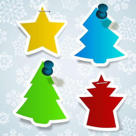 stapled: Christmas Labels Illustration