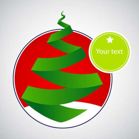 Origami Christmas Tree Card Vector