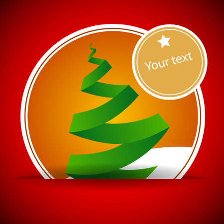 Origami Christmas Tree Card Vector