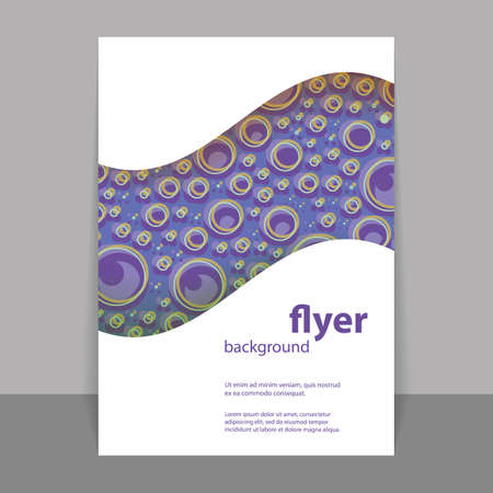 Flyer or Cover Design with Blue Abstract Pattern - Rings Vector