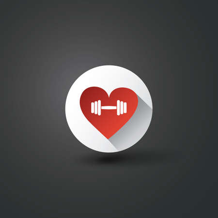 Flat Icon Design With Shadow - I Love Workout