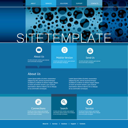 pitted: Website Template with Abstract Header Design - Blue Bubbly Pattern