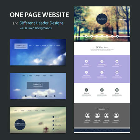 web elements: One Page Website Template and Different Header Designs with Blurred Backgrounds