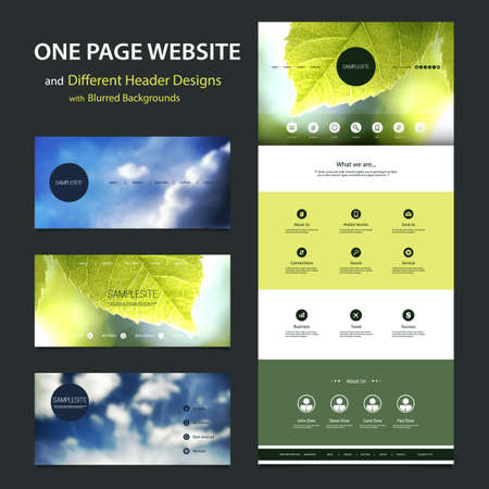 mobile home: One Page Website Template and Different Header Designs with Blurred Backgrounds
