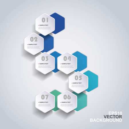 カラフルなペーパー カット インフォ グラフィック デザイン - 丸みを帯びた六角形  イラスト・ベクター素材