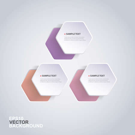 Colorful Paper Cut Infographics Design - Rounded Hexagons Vector