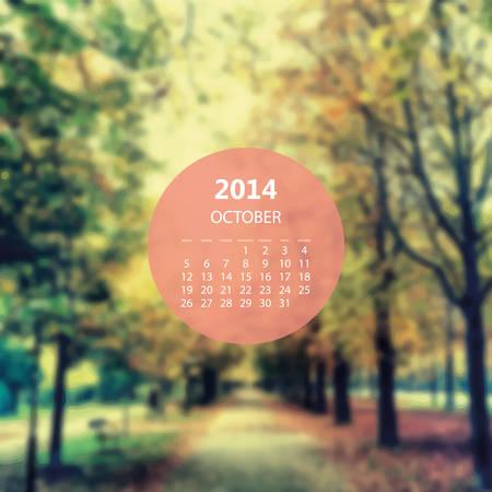 autumn park: Calendar Template 2014 October - Autumn Park Illustration