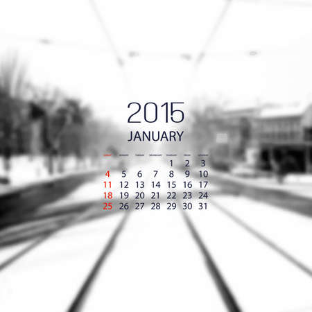 monthly calendar: Monthly Calendar 2015 January - Vector Illustration Design