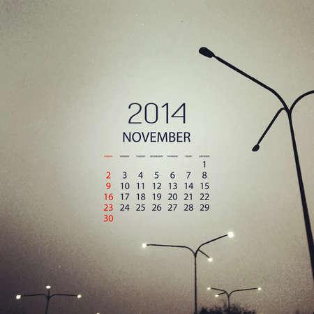 Monthly Calendar 2014 November - Vector Illustration Design Vector