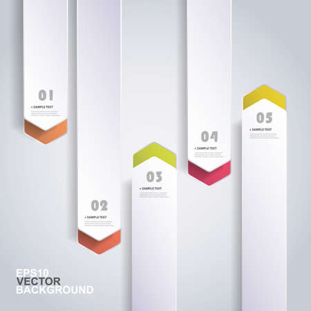 arrow up: Colorful Paper Cut Infographics Design - Rounded Arrows Illustration