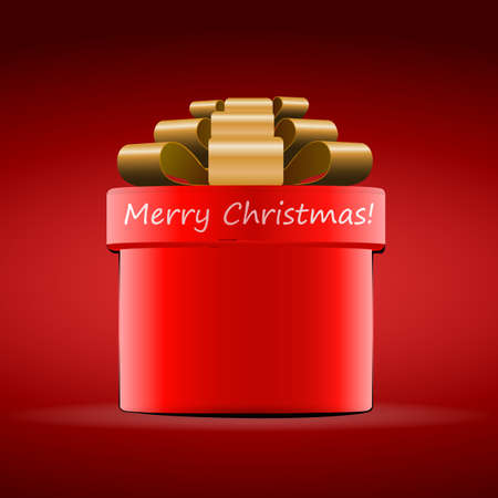red gift box: Merry Christmas - Red Gift Box Design for Christmas