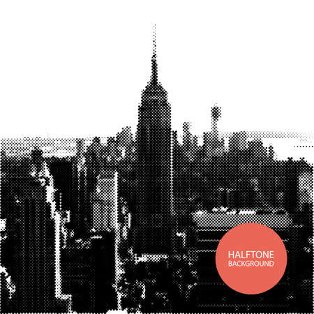 new york skyline: Halftone Background Design - New York Skyline