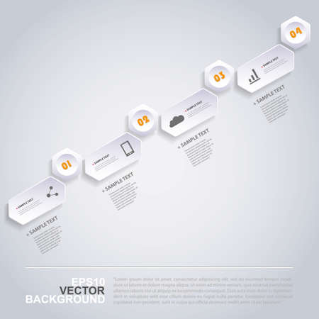 oblique: Infographic Concept with Hexagons - Flow Chart Design - Timeline Illustration