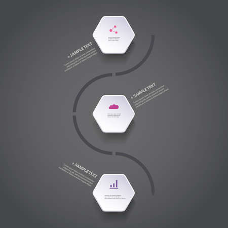 Infographic Concept with Hexagons - Flow Chart Design - Timeline Vector