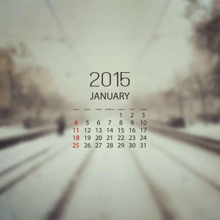 Monthly Calendar 2015 January  Vector